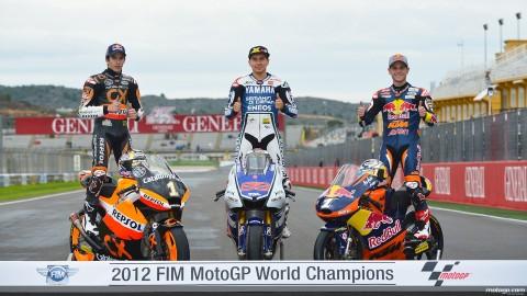Lorenzo, Marquez, Cortese campeones del Mundo 2012/www.motogp.com
