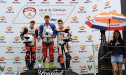 Ryan, Quartararo y Rodrigo podio de la primera carrera de Moto3 en Cataluña